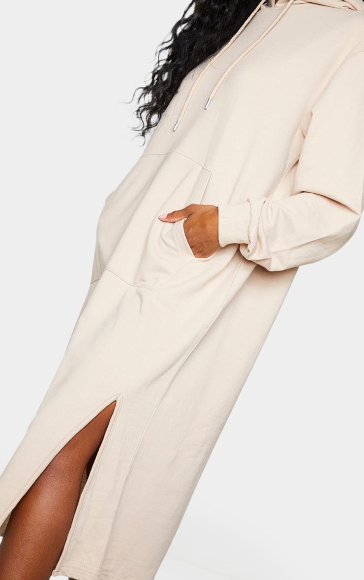 Stone Pocket Detail Hooded Midi Sweat Jumper Dress 4