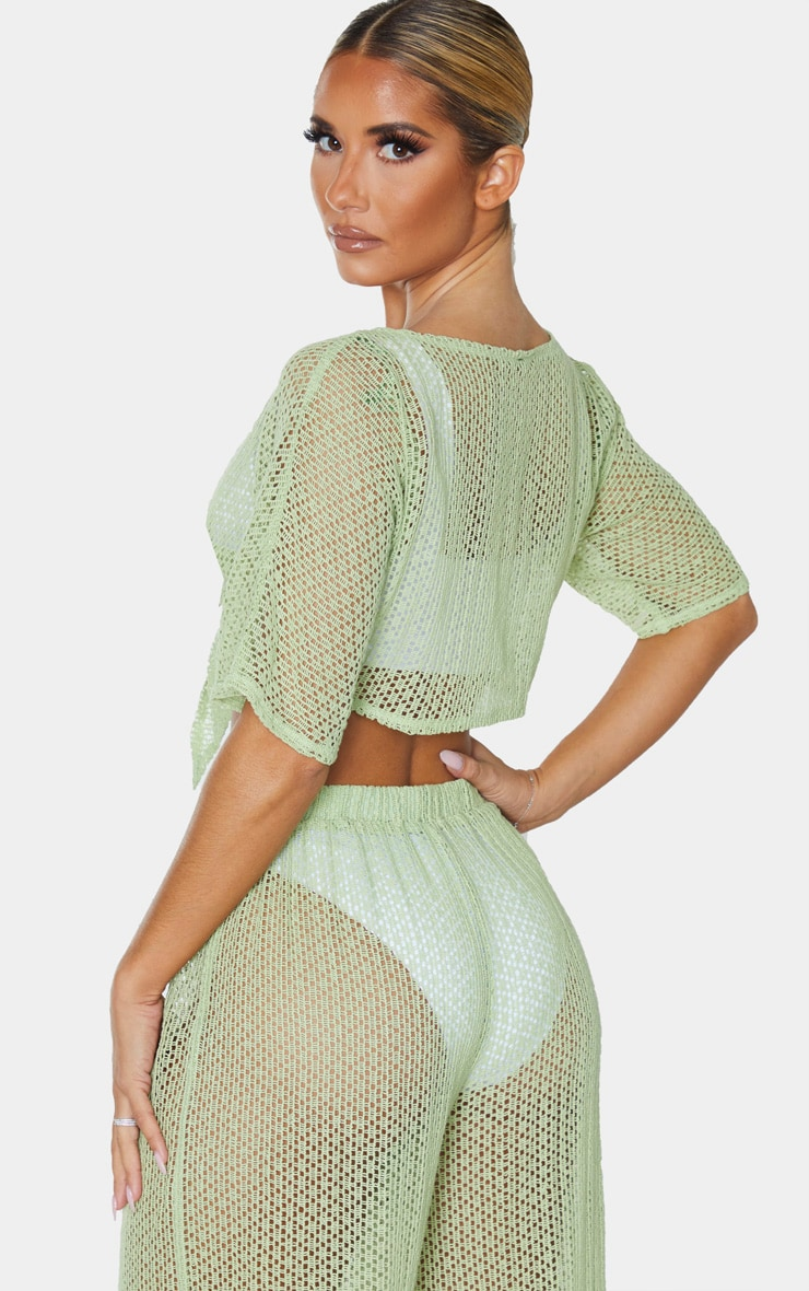 Sage Green Crochet Tie Front Beach Top 2