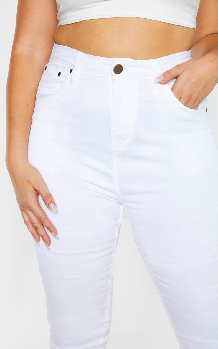 Plus White High Waisted Skinny Jean 5