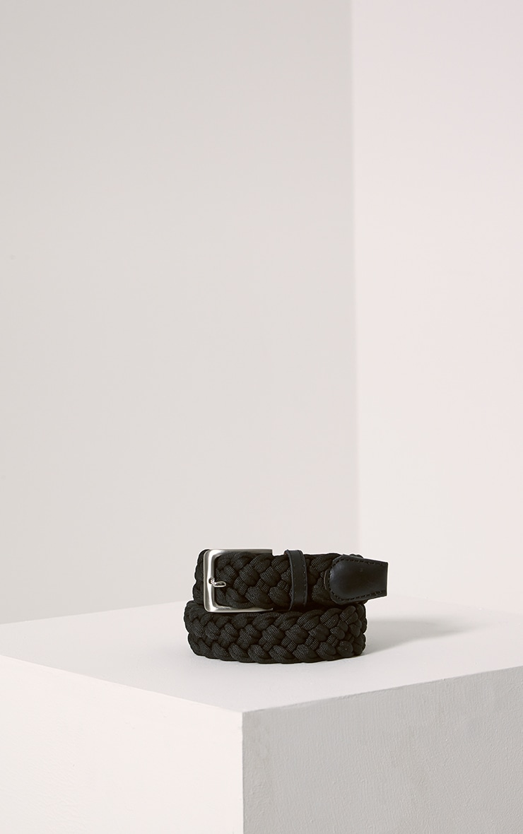 Hanne Black Plaited Woven Belt 1