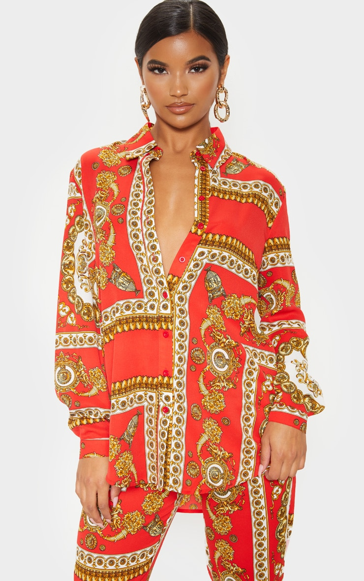 Red Scarf Print Oversized Shirt 1