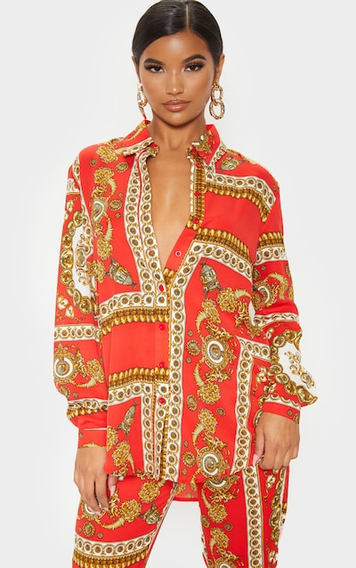 Red Scarf Print Oversized Shirt