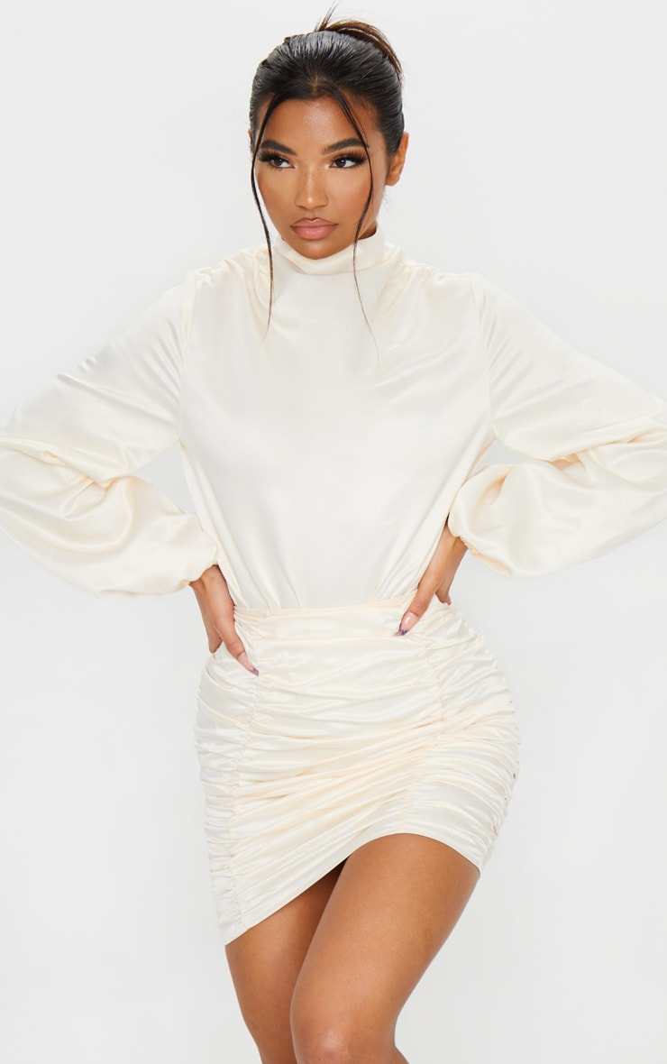 Cream Ruched Panel Mini Skirt 5