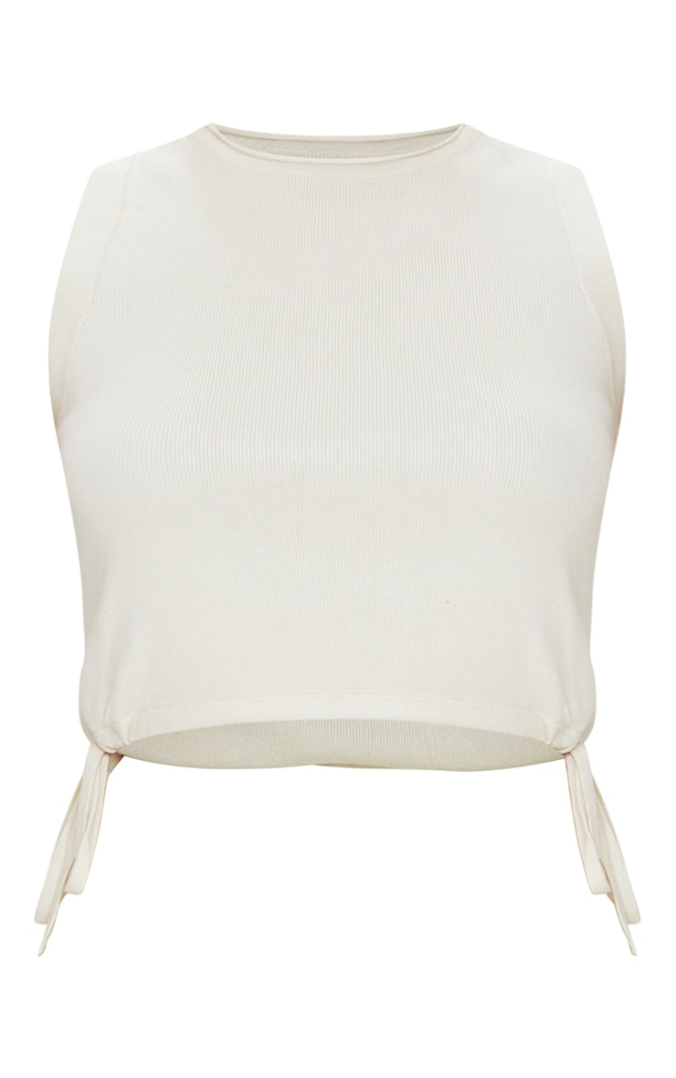 Cream Knitted Sleeveless Drawcord Top 5