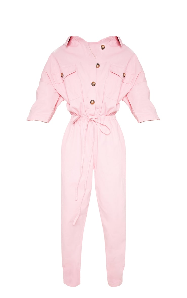 Pale Pink Tortoise Button Chambray Jumpsuit  3