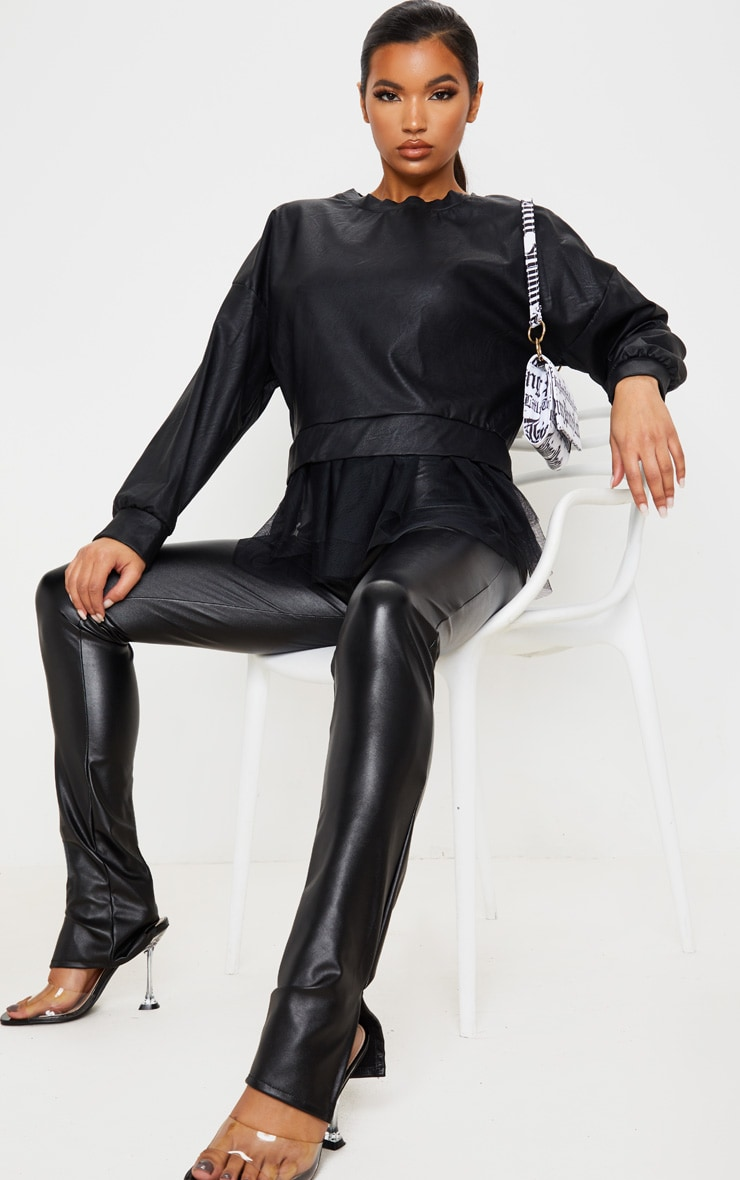 Black Faux Leather Tulle Peplum Long Top 5