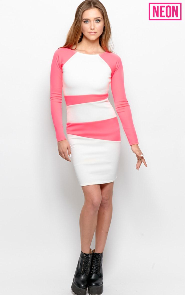 Taylor Neon Pink Segment Midi Scuba Dress-12 3