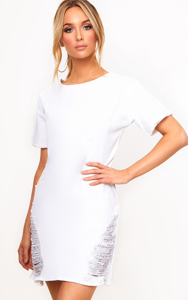 White Super Shred Denim Mini Dress 1