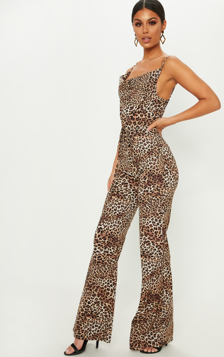 Tan Leopard Print Cowl Neck Jumpsuit 4