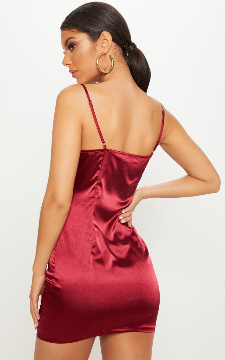 Burgundy Satin Strappy Square Neck Bodycon Dress 2