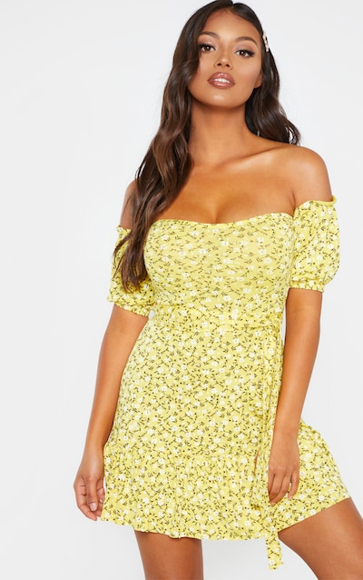 397094f1e86d Petite Yellow Print Bardot Frill Hem Skater Dress PrettyLittleThing Sticker
