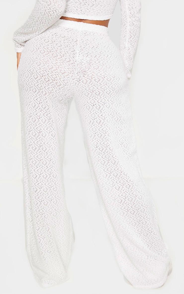 Shape Cream Textured Rib Wide Leg Pants 4