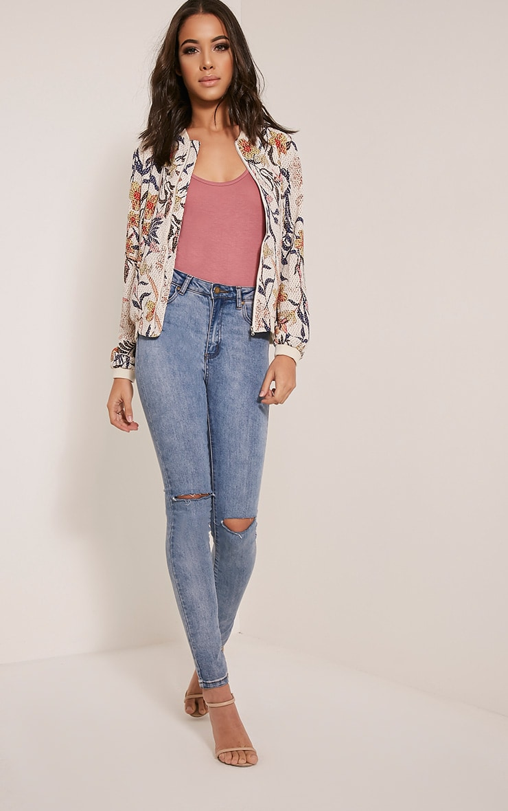Danyelle Beige Floral Abstract Printed Bomber Jacket 5