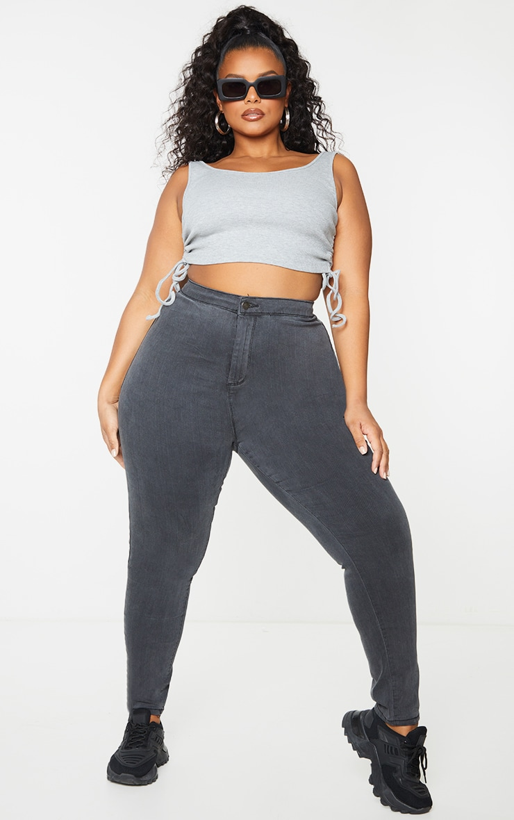 PRETTYLITTLETHING Plus Washed Black Disco Skinny Jean 1