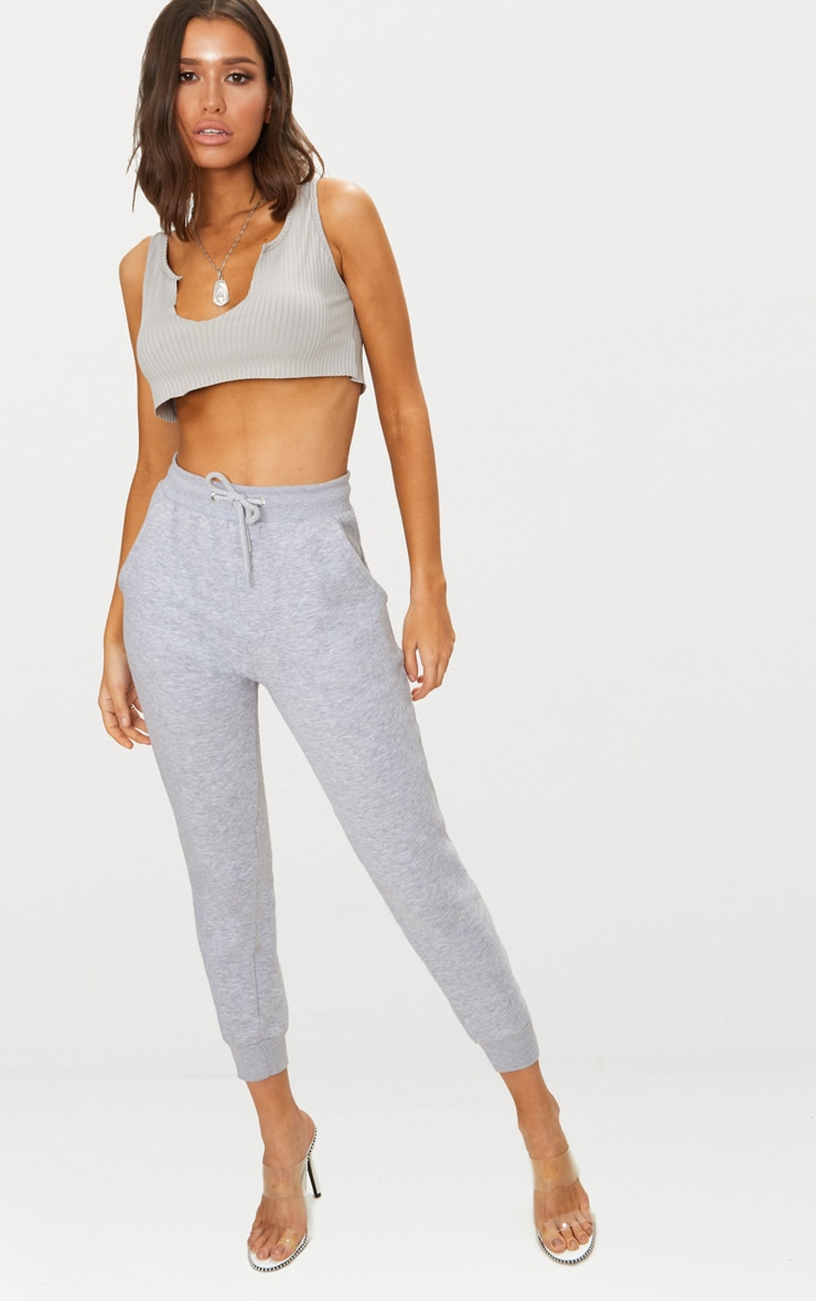 Grey Rib Deep V Raw Edge Crop Top  4