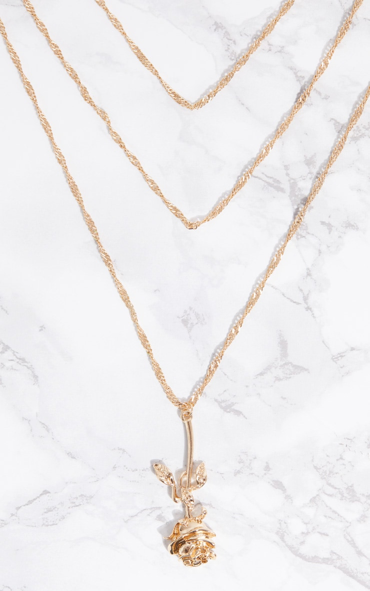 Gold Rose Drop Necklace 3