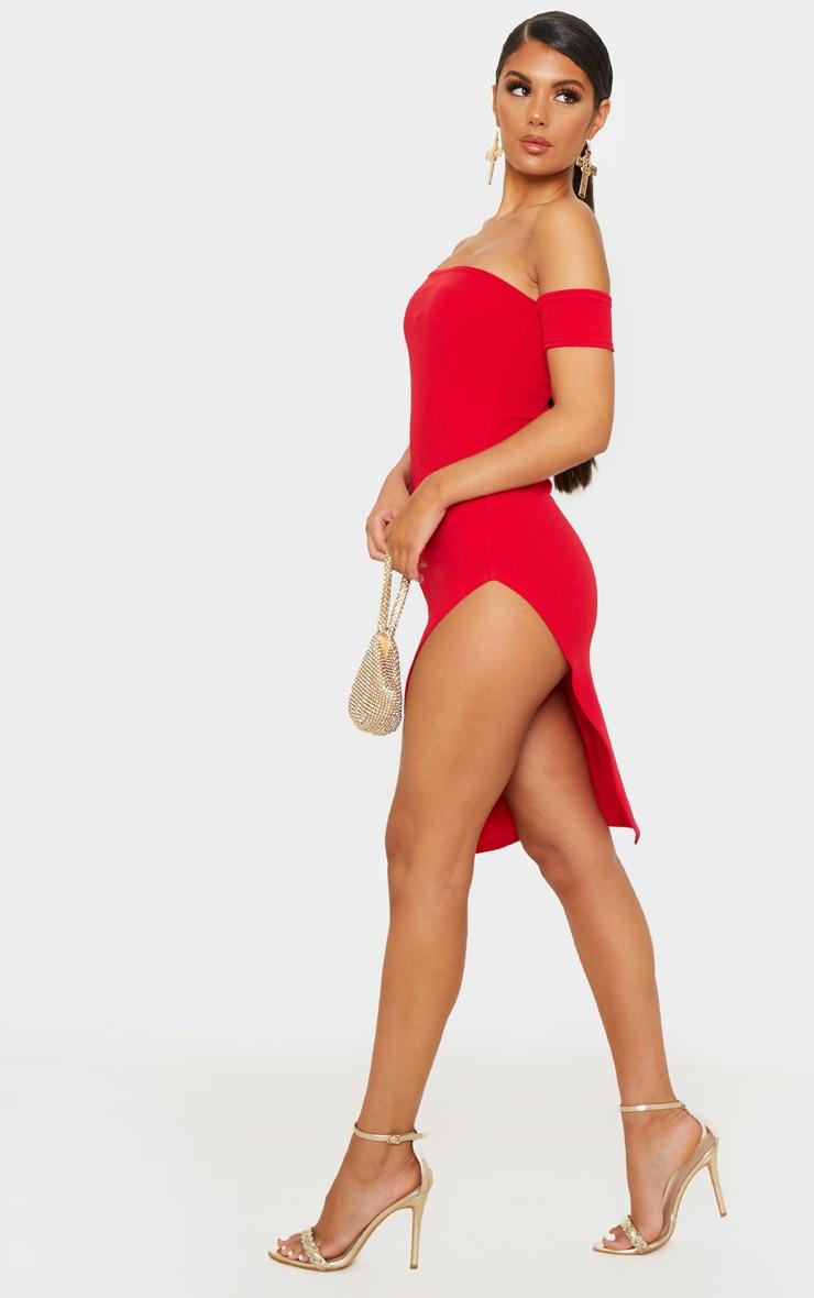 Red Cuff Detail Side Split Midi Dress 4