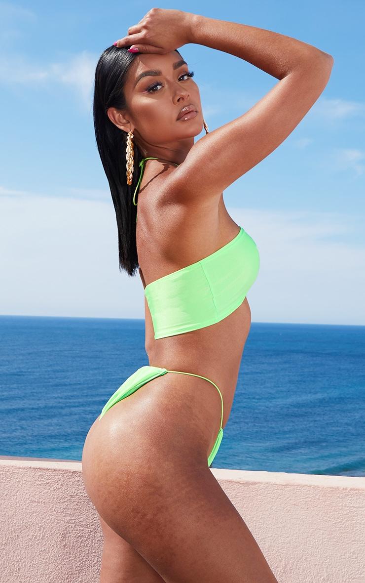 Lime Multi Tie Elastic Strap Bikini Top 2