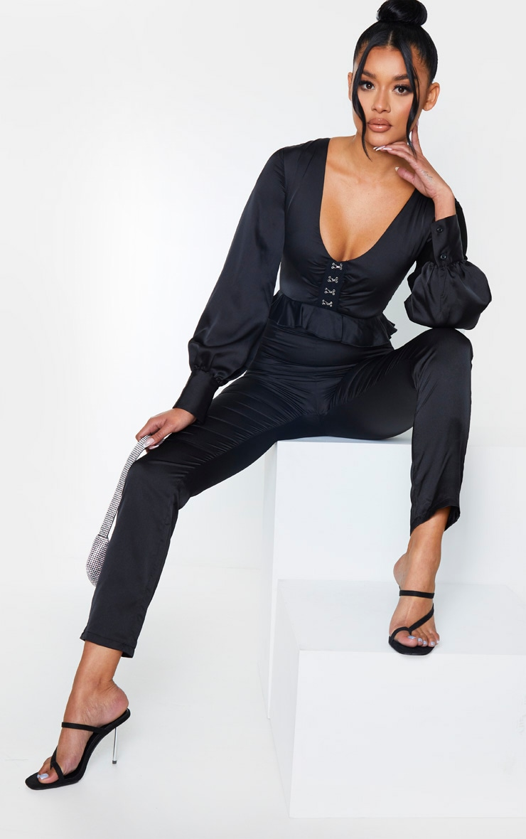 Black Corset Frill Detail Long Sleeve Jumpsuit 1