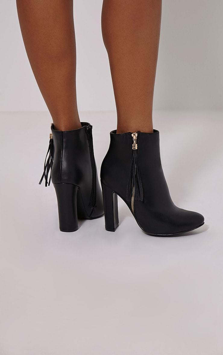 Lizzy Black Fringe Faux Leather Heeled Boots 2
