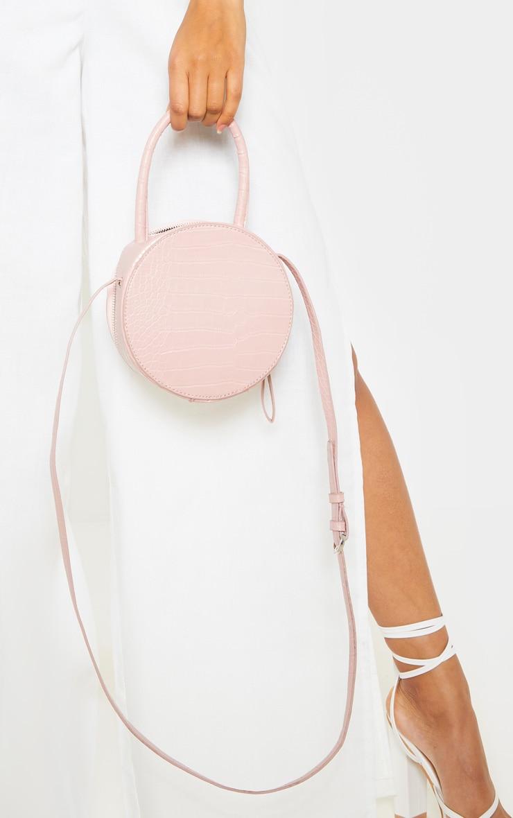 Pink Croc Round Cross Body Bag 1