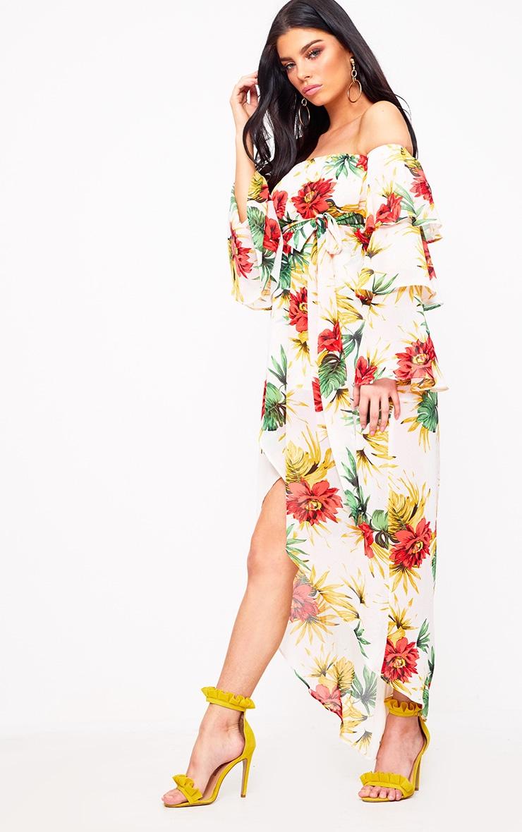 Cream Floral Bardot Frill Detail Midi Dress 4
