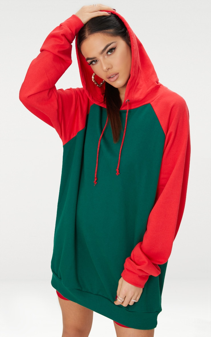 330e8234ca Emerald Green Contrast Sleeve Oversized Hoodie