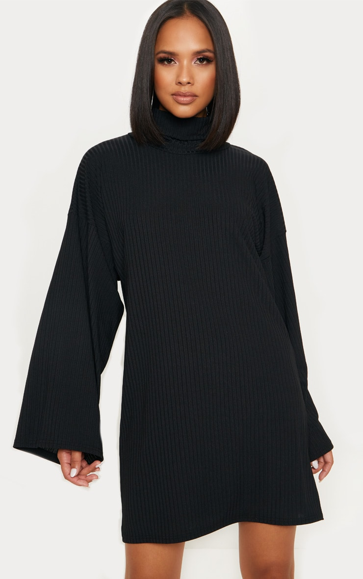 Black Wide Rib High Neck Oversized Jumper Dress