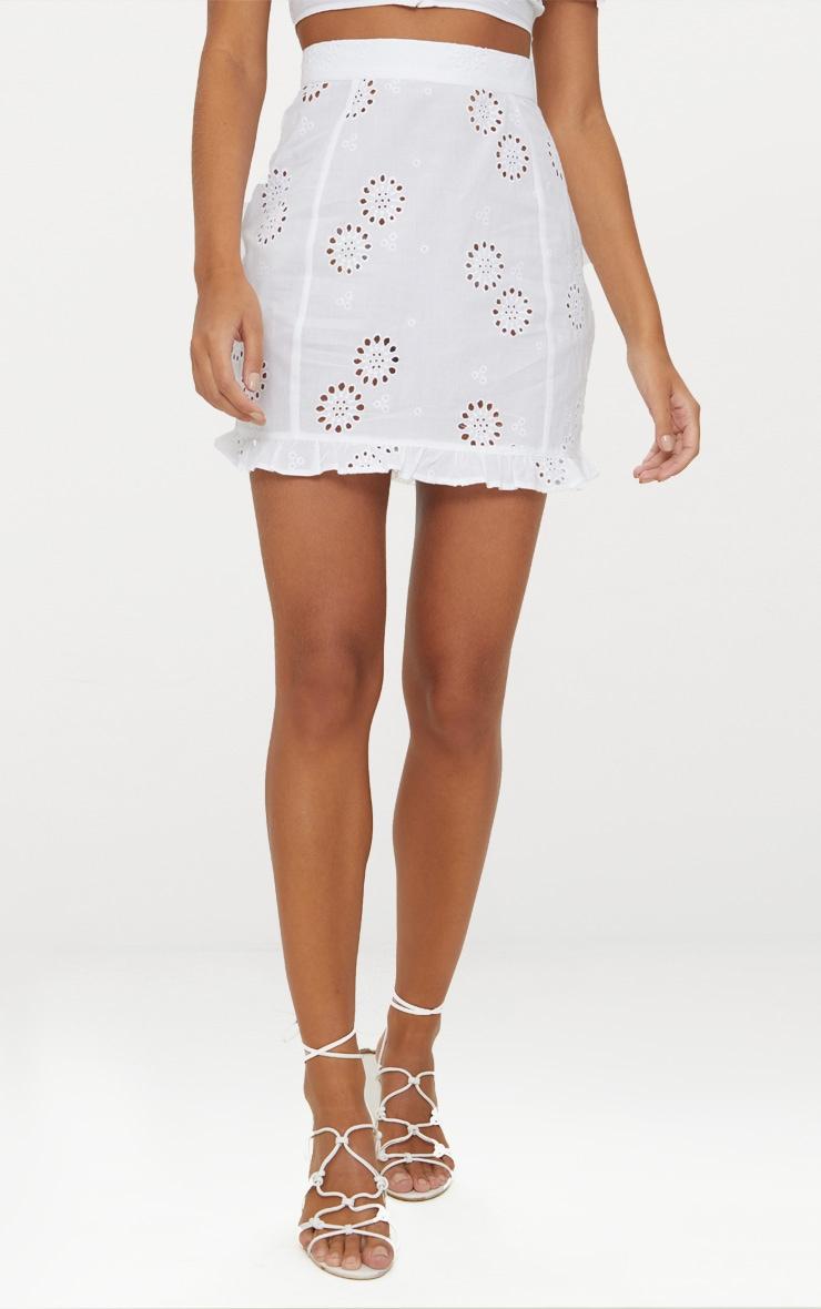 White Embroidered Frill Hem Mini Skirt 2