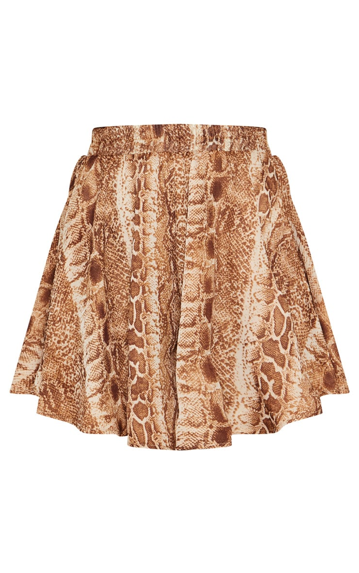 Tall Brown Snake Print Floaty Shorts 3