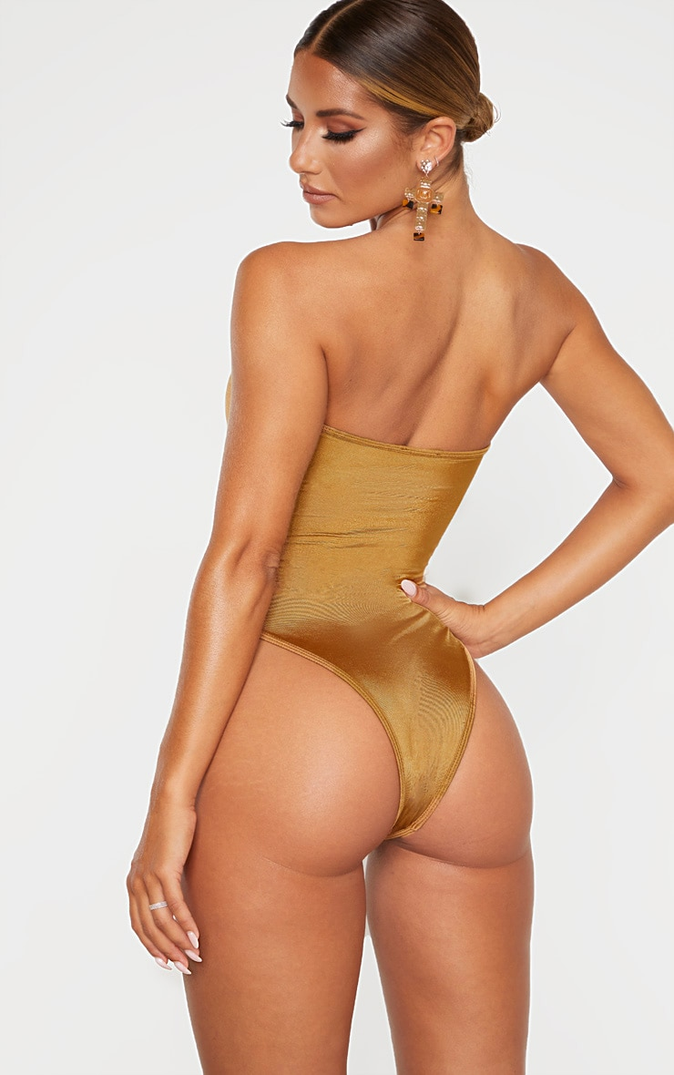 Mocha Strapless Gold Diamante Waist Swimsuit 2