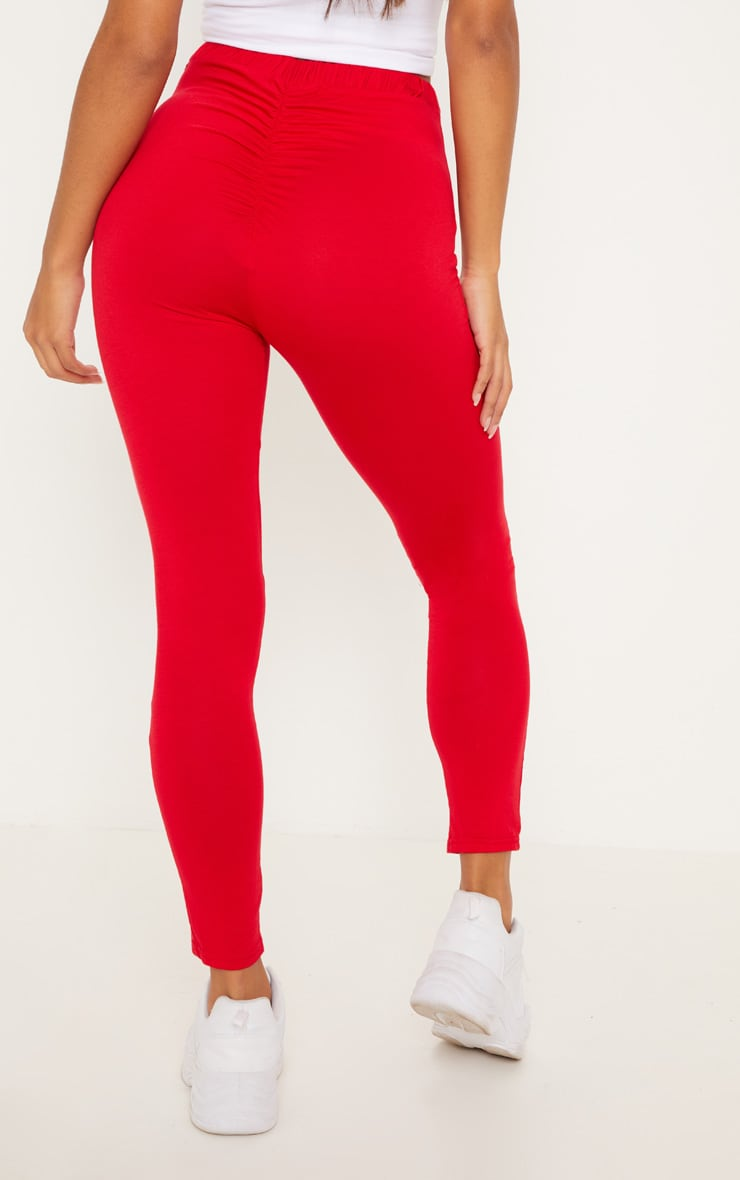 Red Ruched Back Jersey Leggings 4
