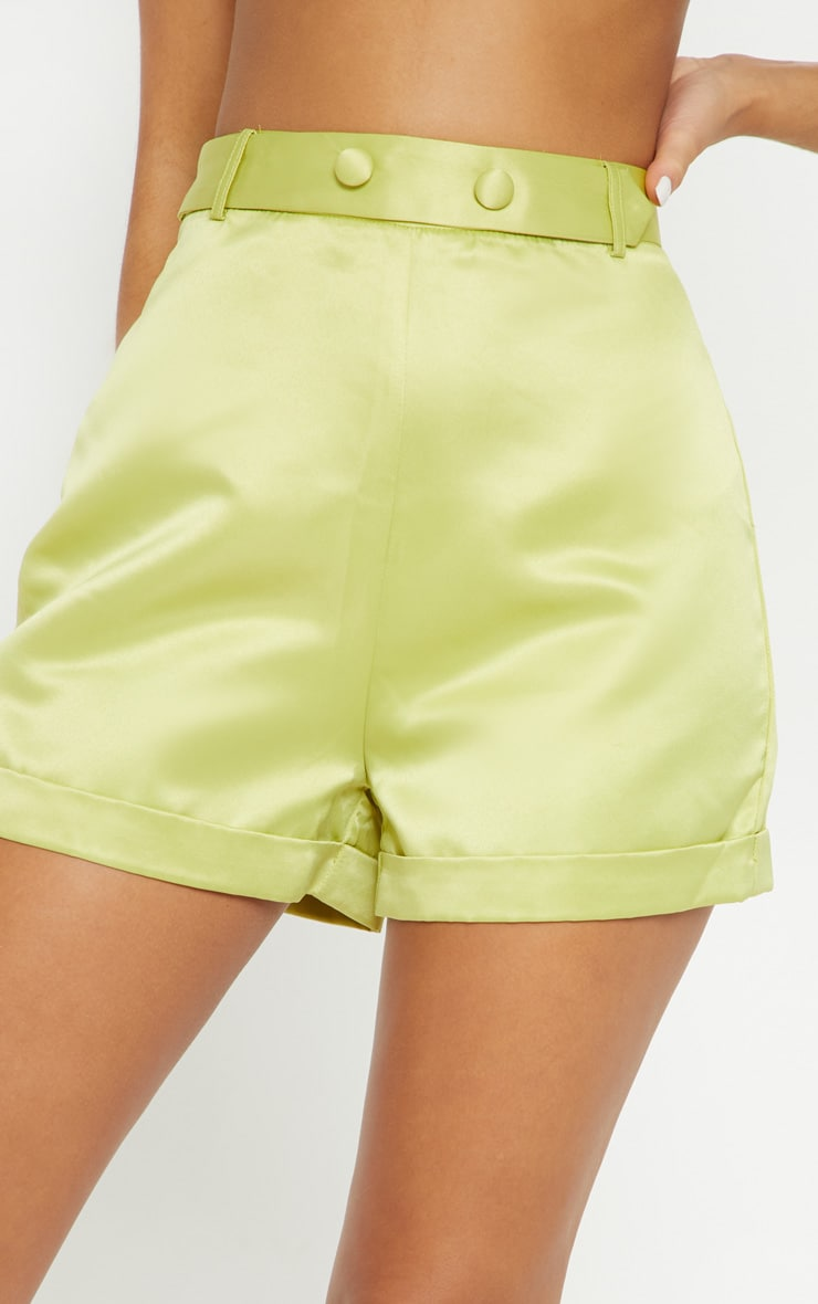 Lime Satin Suit Shorts 6
