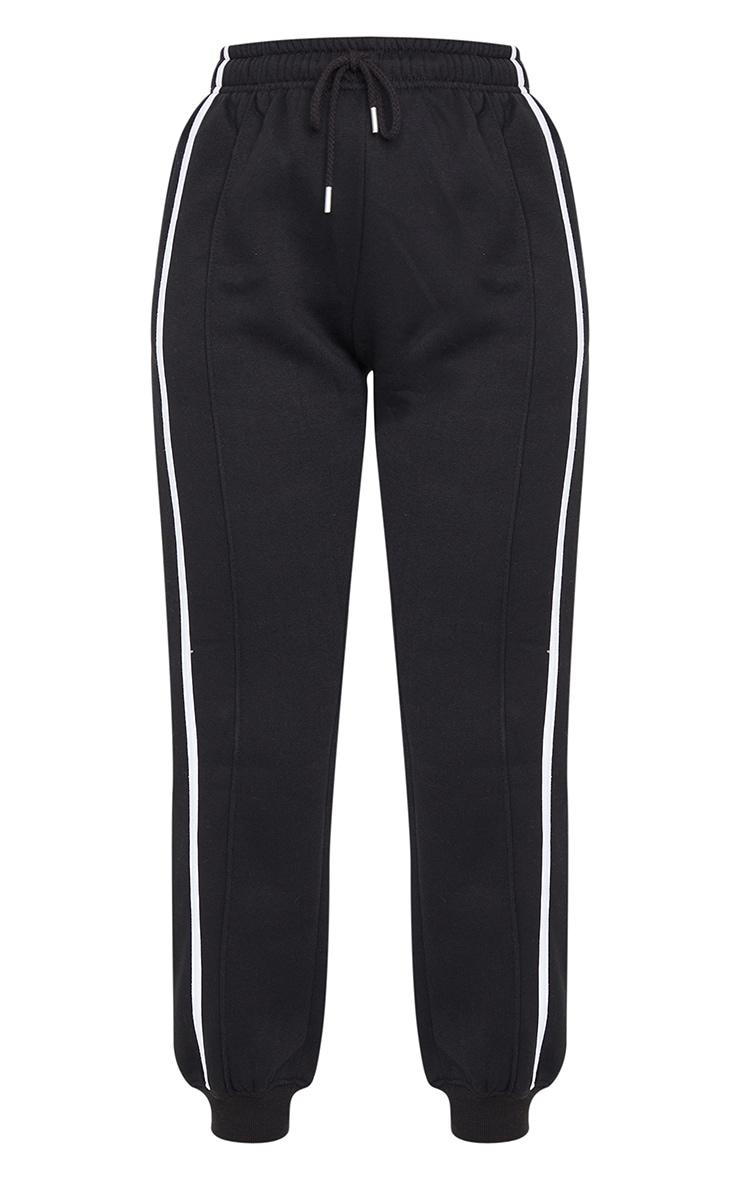 Black Double Side Stripe Track Pants 5