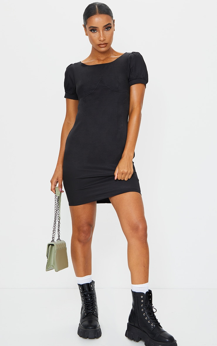 Black Woven Cup Detail Puff Sleeve Bodycon Dress 3