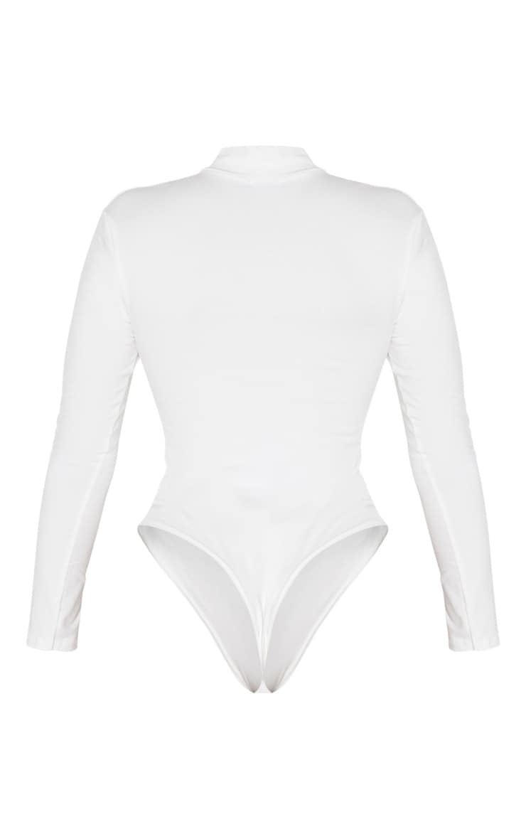 Shape Cream Cotton Zip High Neck Long Sleeve Bodysuit 4