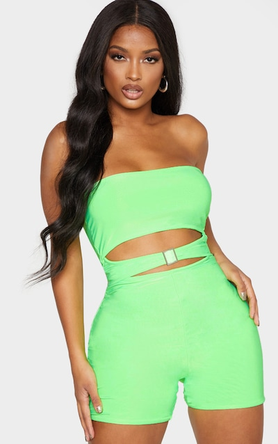 bf0d87874d58 Shape Neon Green Cut Out Buckle Front Unitard PrettyLittleThing Sticker