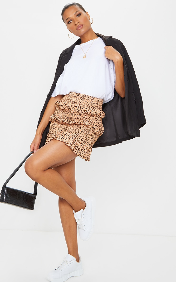 Tan Leopard Tiered Frill Mini Skirt 1