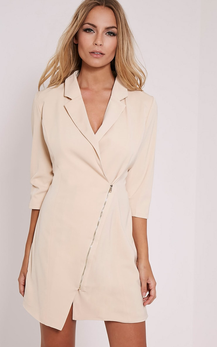 Maryam Nude Longline Asymmetric Zip Front Blazer Dress 1