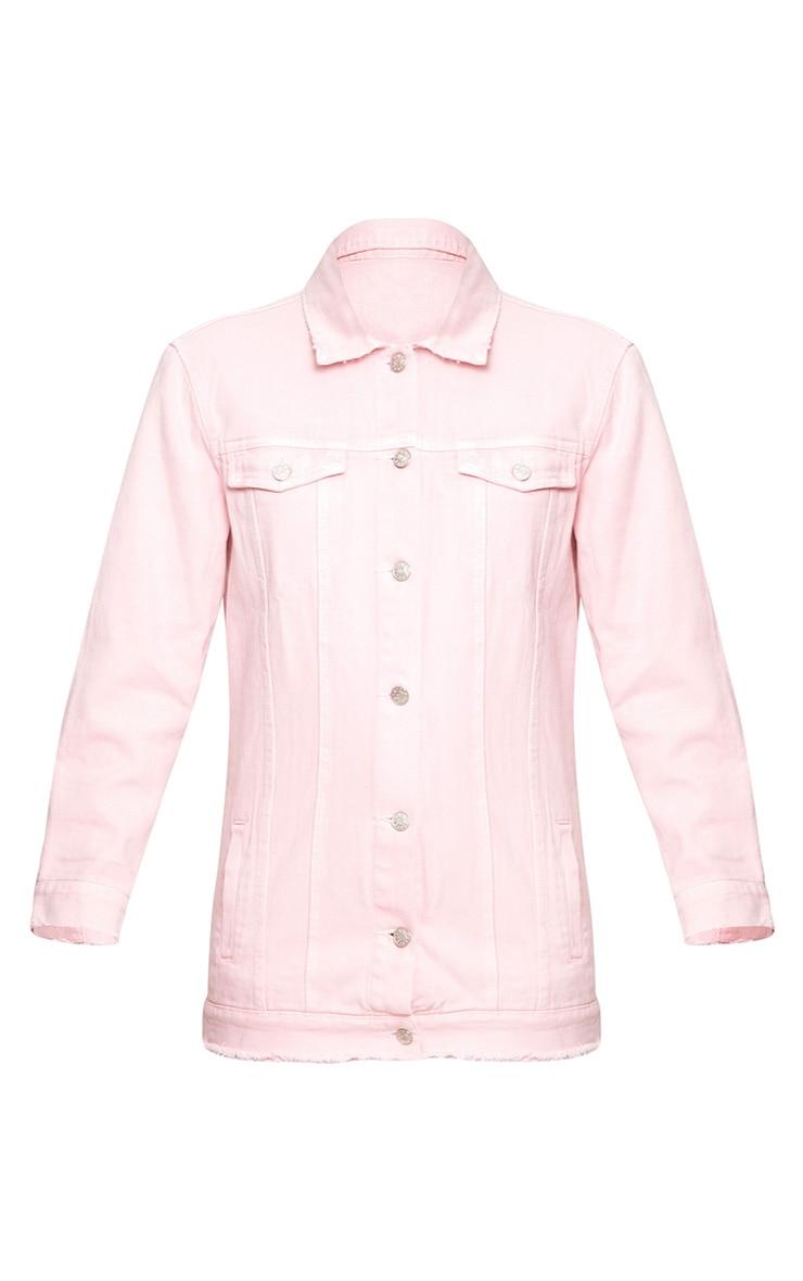 Light Pink Elbow Rip Denim Jacket 3