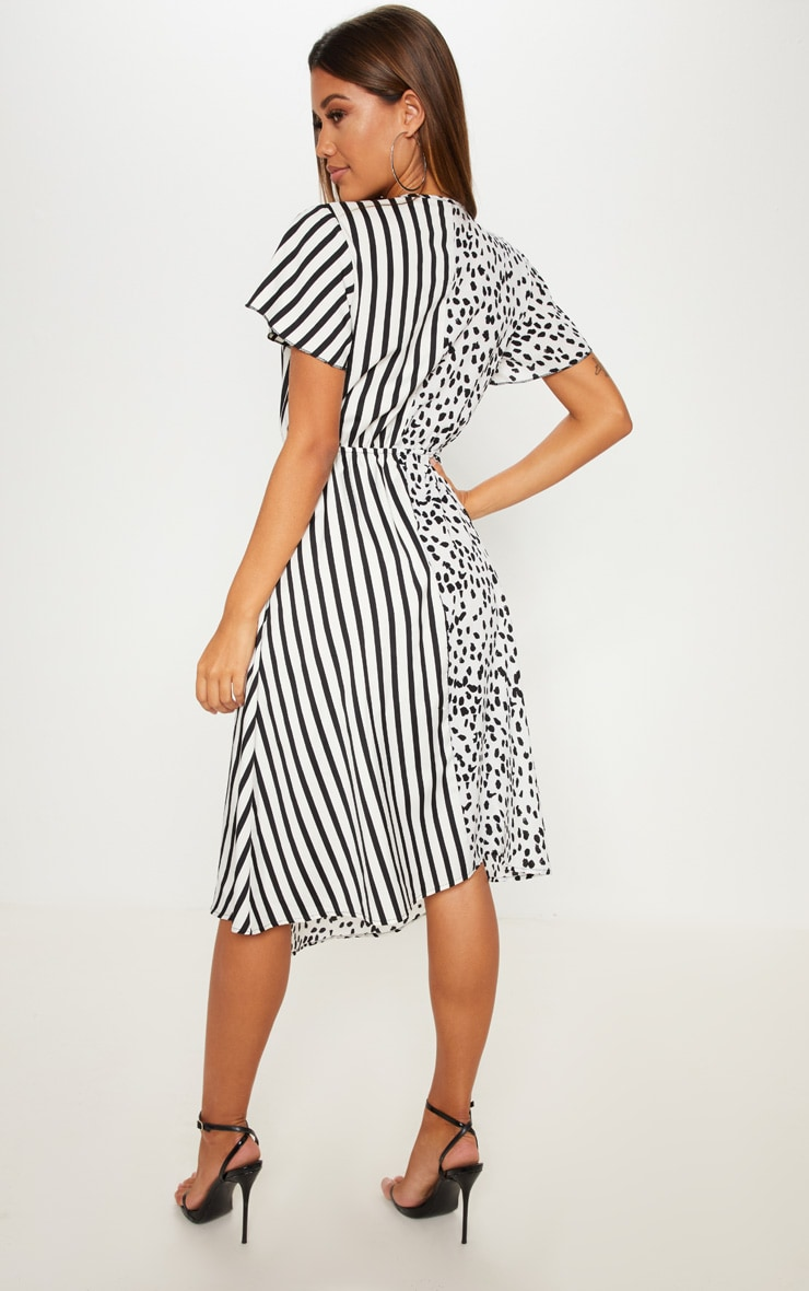 White Mixed Print Wrap Midi Dress 2