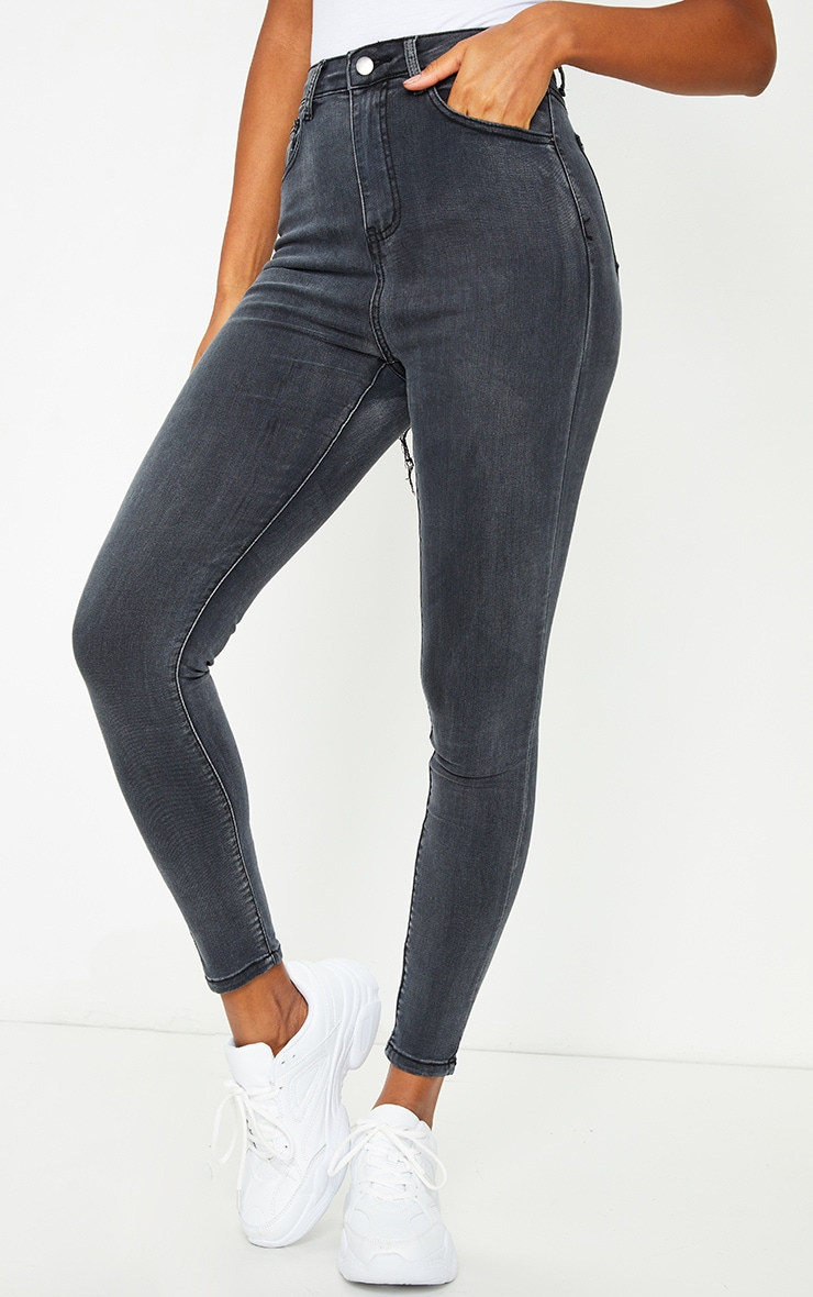 PRETTYLITTLETHING Washed Black Bum Rip 5 Pocket Skinny Jeans 2