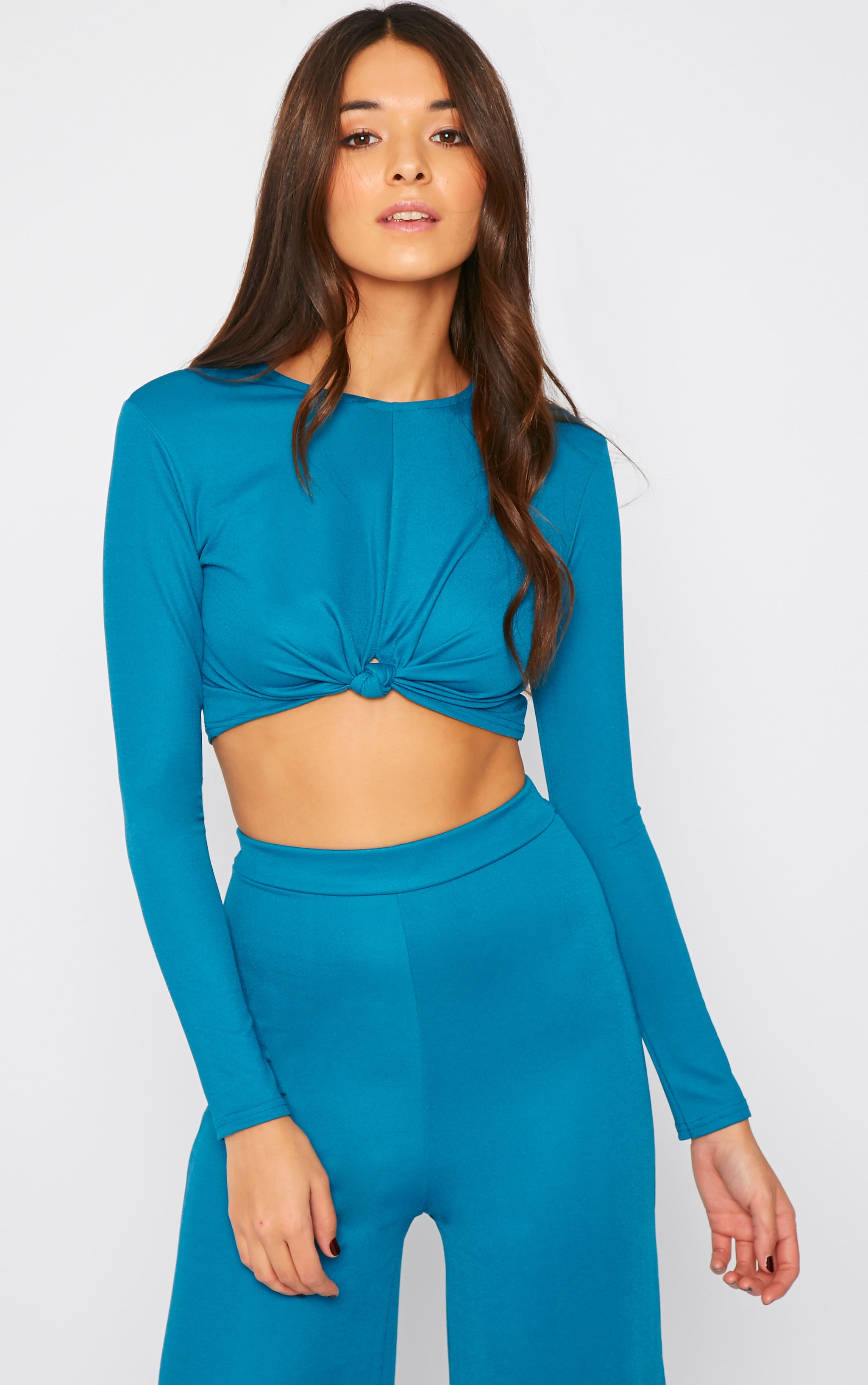 Zafia Teal Knot Front Crepe Crop Top  5