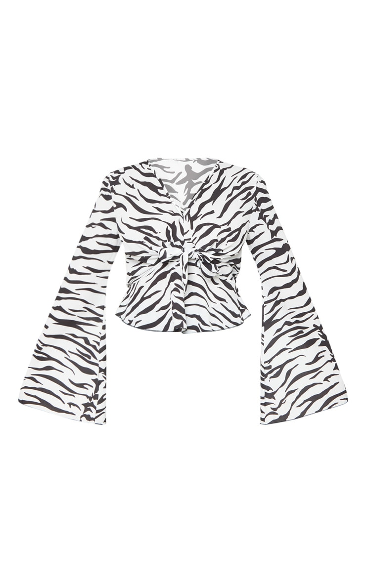 Tall White Zebra Print Wide Sleeve Tie Front Top 3
