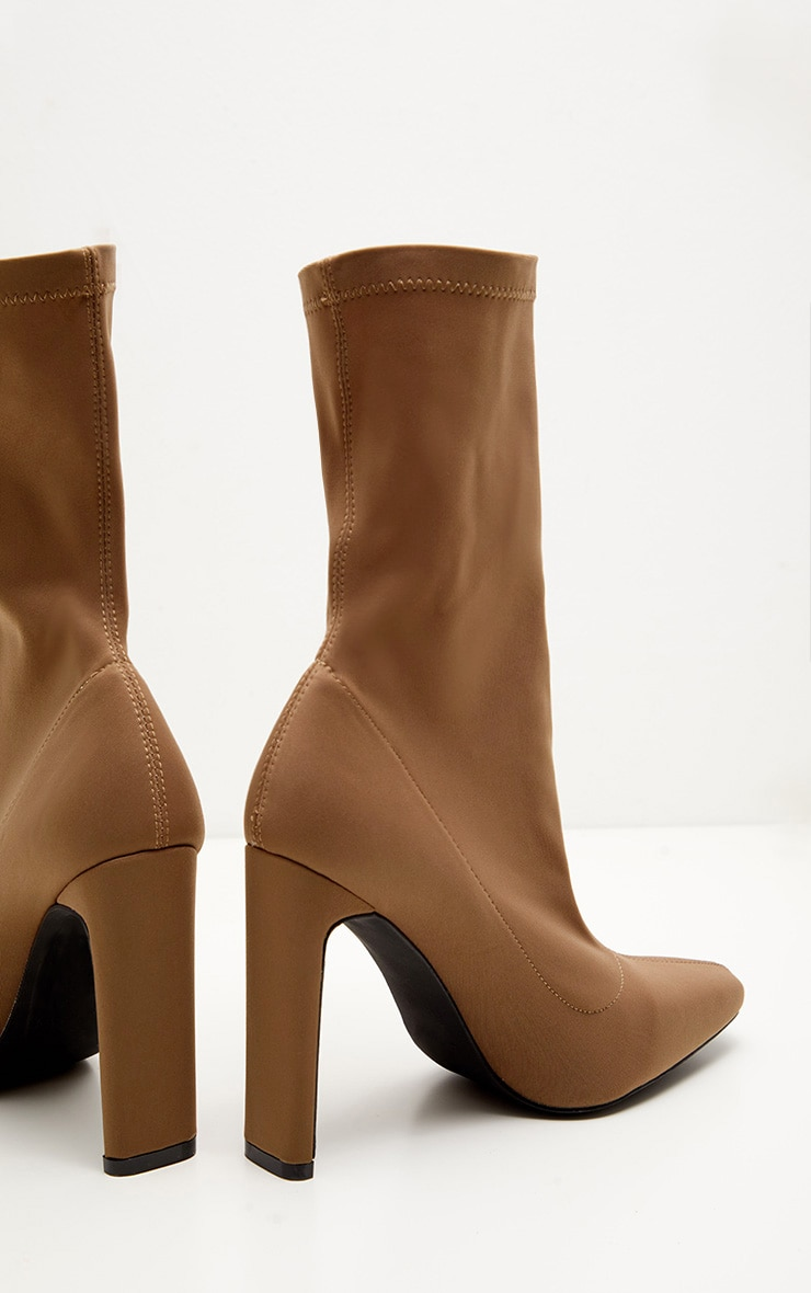 Taupe Lycra Flat Heel Ankle Boot 4