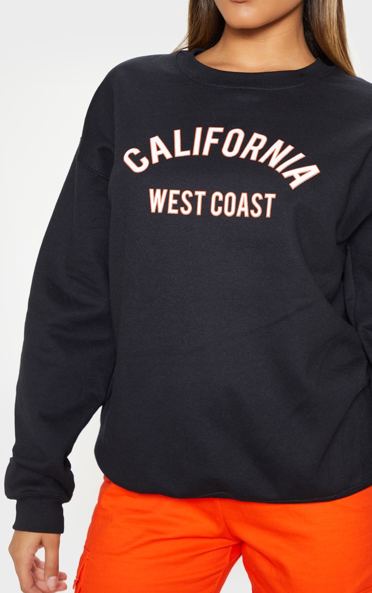 Black California Slogan Oversized Sweater 5