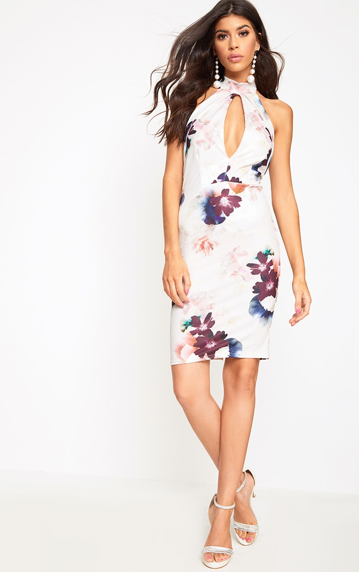 Cream High Neck Floral Midi Dress  4