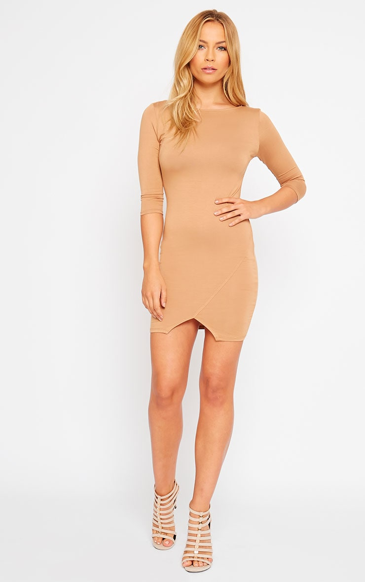 Basic Camel Scoop Back V Hem Dress 3