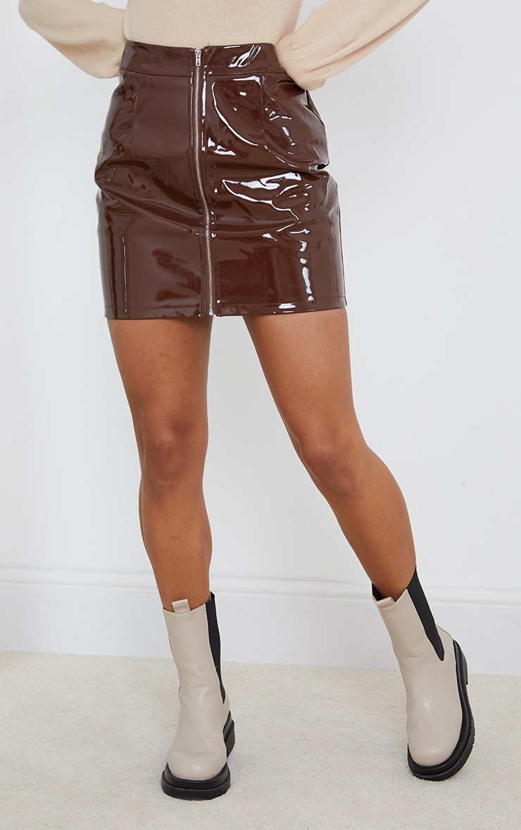 Chocolate Vinyl Mini Skirt 2