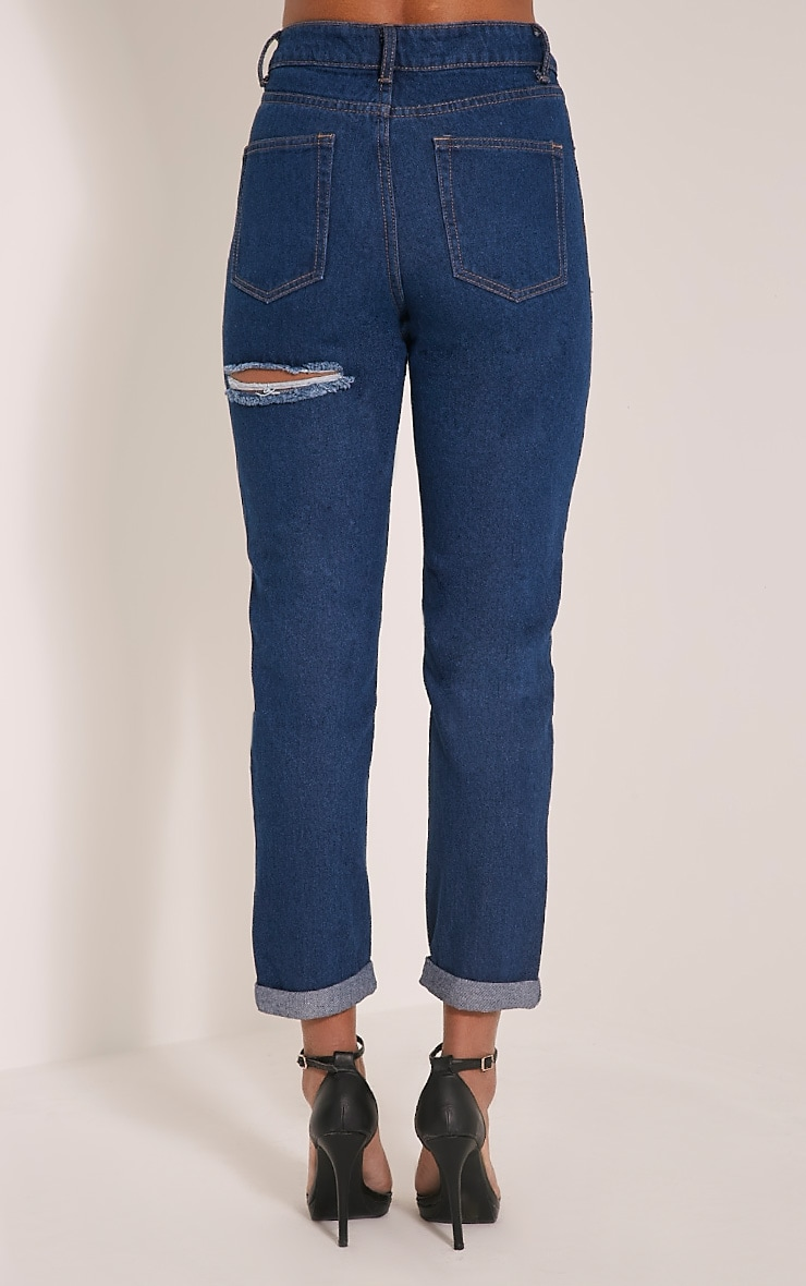 Carley Blue Dark Wash Extreme Rip Straight  Leg Jeans 5
